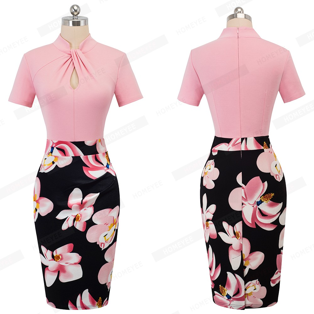 Elegant Work Office Business Drapped Contrasting Bodycon Slim Pencil Lady Dress Women Sexy Front Key Hole Summer Dress EB430 31