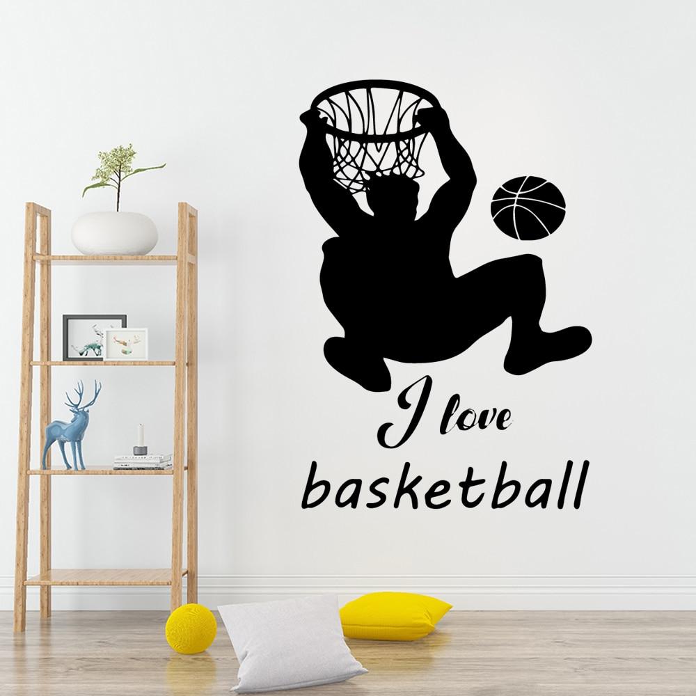 Modern Sports Basketball Wall Sticker Home Decor Decoration Pvc Wall Decals Bedroom Nursery Decoration in Wall Stickers from Home Garden