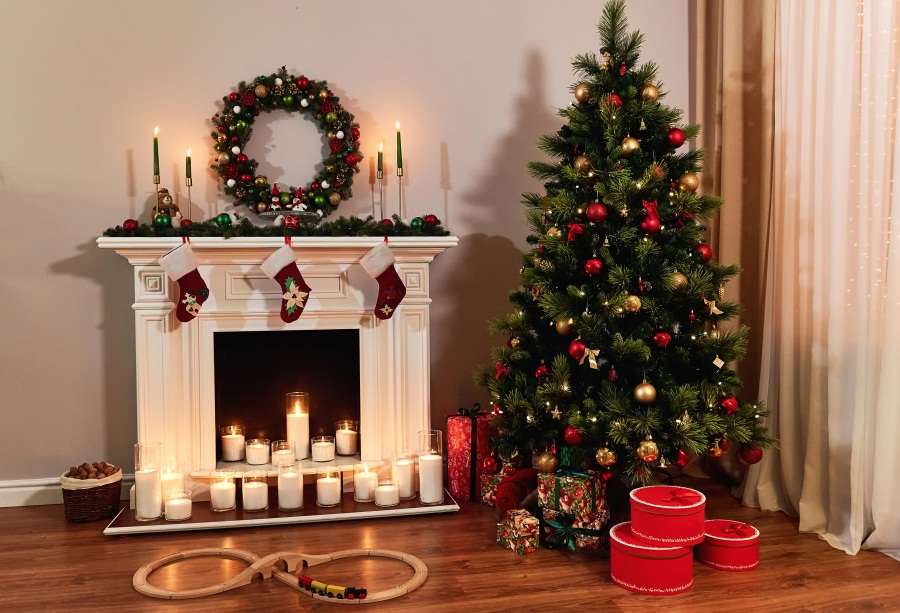 a1581af022 Laeacco Christmas Pine Fireplace Candle Gift Baby Photography Backgrounds  Customized Photographic Backdrops For Photo Studio