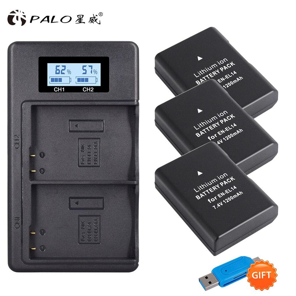 1200mAh 3x EN-EL14A EN-EL14 ENEL14 Batterie + LCD Chargeur Double USB pour Nikon D3100 D3200 D3300 D3400 D3500 D5600 D5100 D5200 P7000