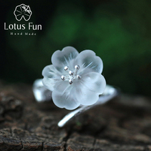 Lotus Fun 925 Sterling Silver Rings for Women Natural Handmade Fine Jewelry Flower in the Rain Open Engagement Ring for Female
