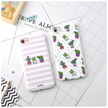 Candy Color Leaf Print Phone Case for iPhone Cactus Plants Fashion Soft TPU Rubber Silicon Cover  3