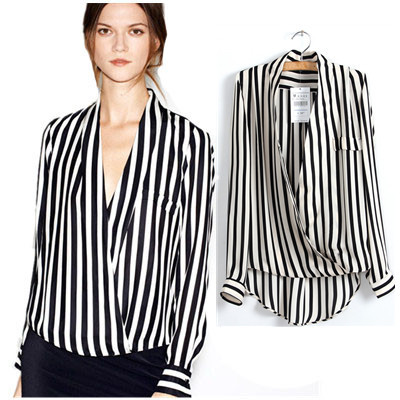 Autumn fashion women long sleeve blouse deep v neck black for Black and white striped long sleeve shirt women