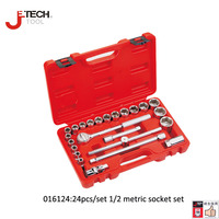 Jetech a set of 24pcs 1/2 DR metric socket set kits kit de chaves e ferramentas hand tools for car lifetime guarantee