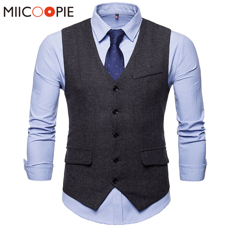 Dress Vests Men 2018 Herringbone Chalecos Para Hombre Suit Vest Male Waistcoat Gilet Sleeveless Formal Weeding Business Vest XXL