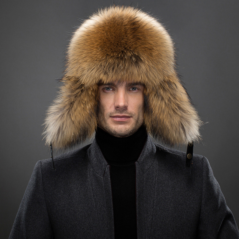 47594c1a337ae Men s Raccoon Fur Bomber Hats Winter Fox Fur Earflap Hat Russian Aviator  Snow Skiing Warm Silver Fox Fur Men Hats