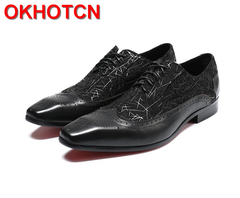 Men Black Shoes Leather Print Men S Casual Dress Shoes Lace Up Handmade Men Shoes Flat Large Size Square Toe Groom Wedding Shoes