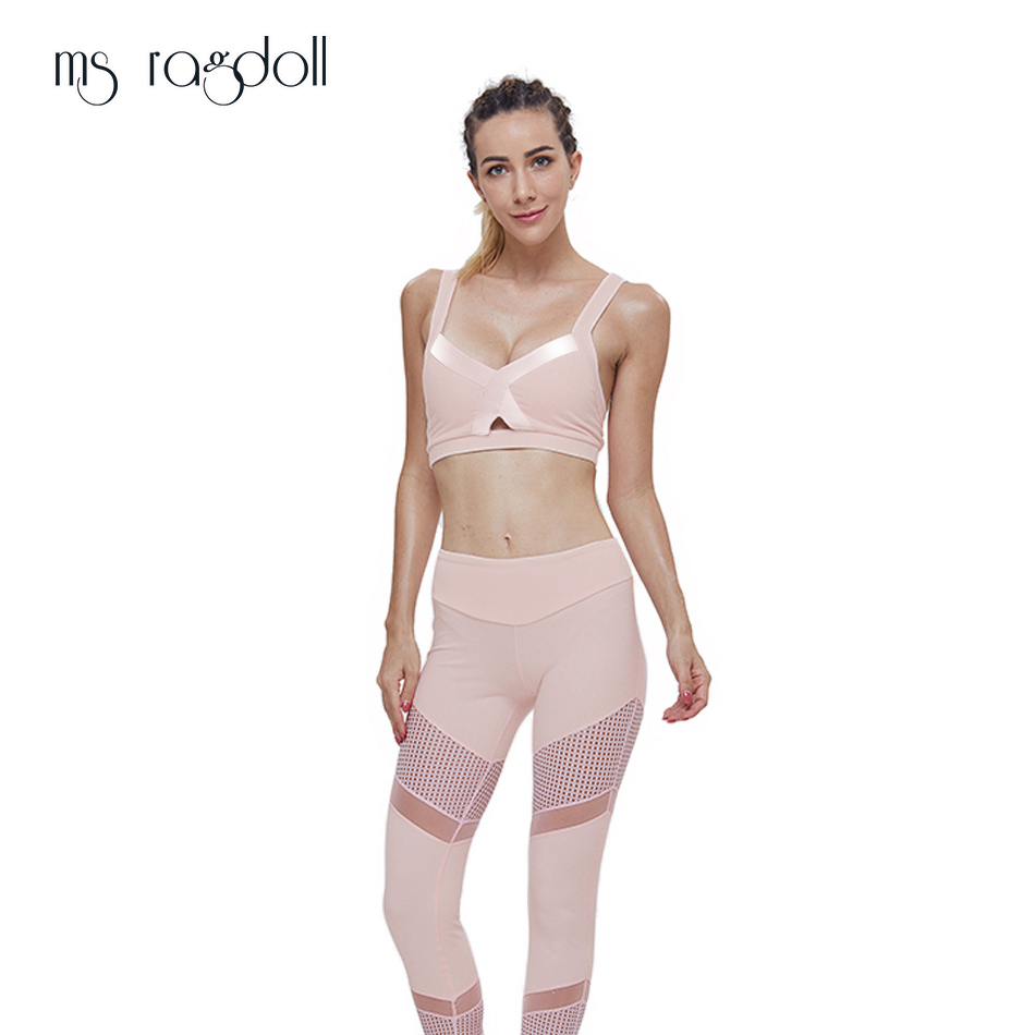 2019 Hot Sports Bra Leggings Women Mesh Stitching Clothes Yoga Set Female Fitness Tracksuit Pants Sexy Tops Slim Sportswear Gym 1