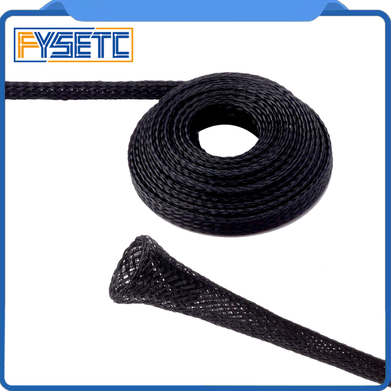 5Meter  Expandable Braided PET Premium Cable 6mm/8mm/10mm Dia Sleeve Black Certification ROHS 3D Printer Accessories
