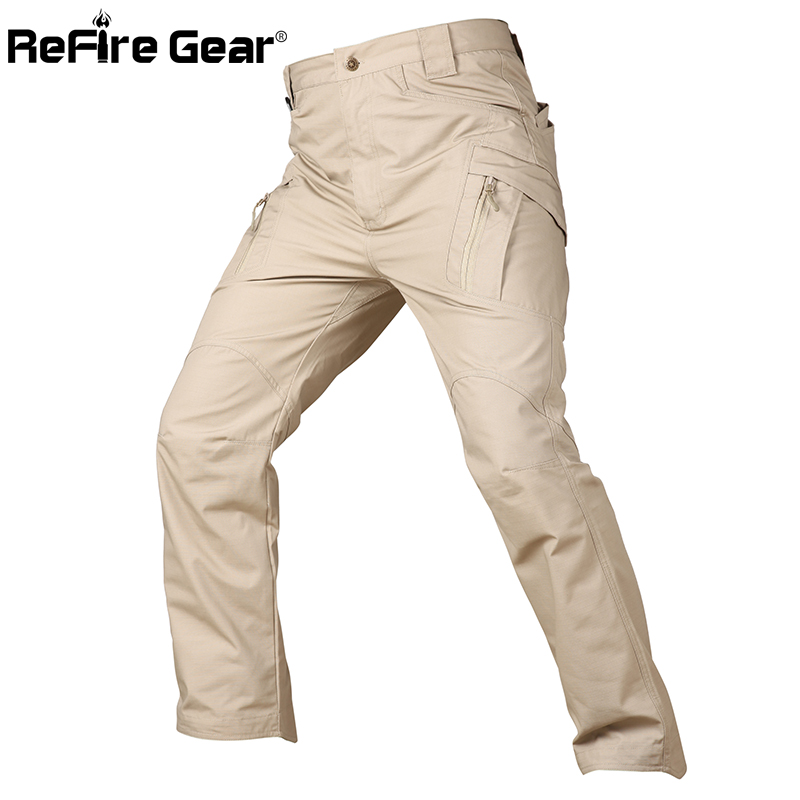 ReFire Gear City Tactical Waterproof Army Cargo Pants Men Rip-Stop SWAT Combat Military Pants Many Pockets X9 US Special Trouser