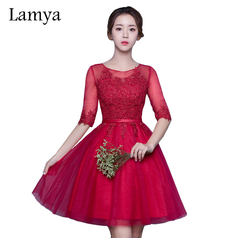 Lamya Real Sample Plus Size Cheap Red Chiffion Bridesmaid Dresses