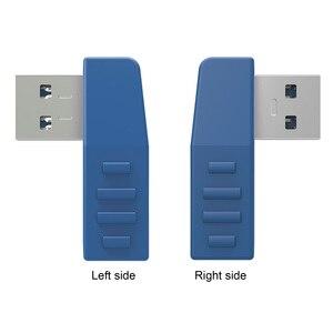 Image 5 - 90 degrés USB 3.0 A mâle à femelle Vertical gauche droite haut bas coudé adaptateur USB 3.0 M/F connecteur pour ordinateur portable ordinateur bleu