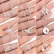 SMJEL Stainless Steel Animal Mickey Necklaces for Women Daily Jewelry Fashion World Map Wave Fox Necklace Gold Collier 2019(China)
