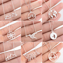 SMJEL Stainless Steel Animal Mountain Necklaces for Women Daily Jewelry Fashion World Map Wave Fox Necklace Gold Collier 2020