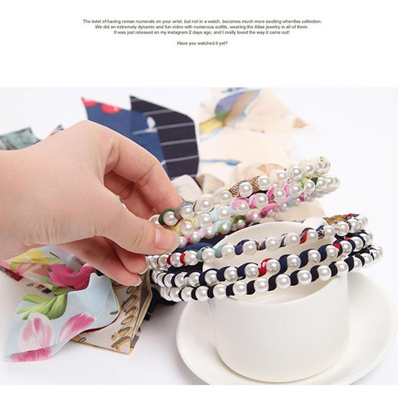 Купить с кэшбэком Hot Sale 1PC Fashion Women Girls Bowknot Pearl Hair Band  Chiffon Lovely  Hair Accessories