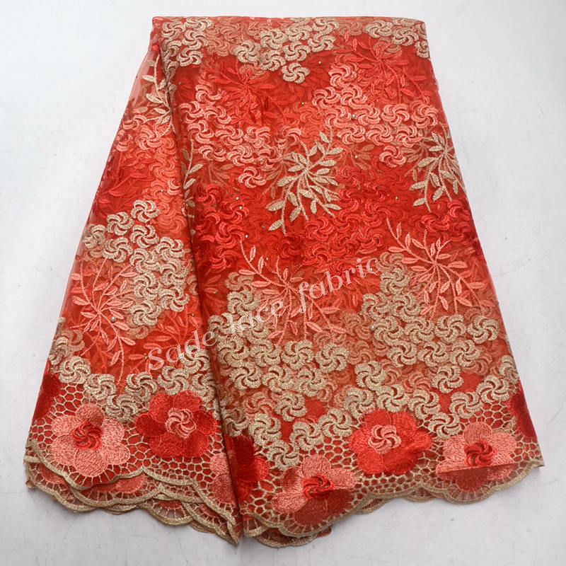 African Lace Fabric 2018 Coral Red Gold Embroidered Nigerian Laces Fabric High Quality French Tulle Lace