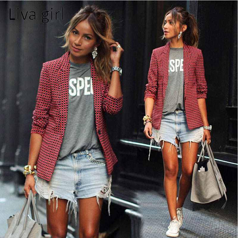 Liva Girl Women Fashion Casual Blazers Long Sleeve Notched Women Red Plaid Single Button Suit Coat Slim Print Blazer For Women