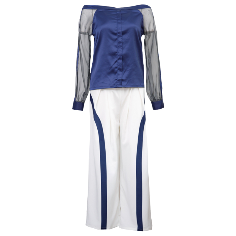SUDB Evening Pant Suits Elegant Women 2 Piece Set Top And Pants White Trouser Suit Long Sleeve Blouse Formal Wide Leg Pants cropped wide sleeve top