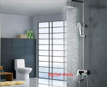 Foyi brand bathroom rainfall shower with Water Powered Digital Shower Set No Battery LED show faucets