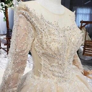 Image 4 - HTL627 cao cấp váy áo tay dài cổ chữ O nặng handmake đính hạt áo cưới năm 2019 lỗ khóa lưng Đầm Vestido de novia con Manga