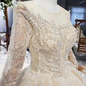 Image 4 - HTL627 luxury wedding dresses long sleeve o neck heavy handmake bead wedding gowns 2020 keyhole back vestido de novia con manga