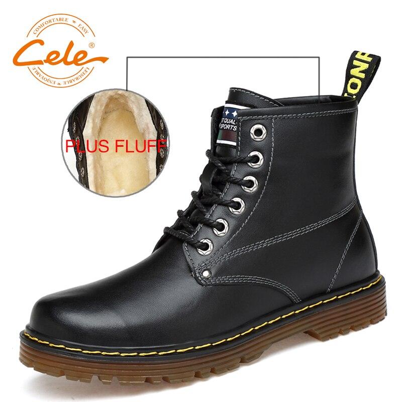 CELE Brand Natural Wool Men Snow Boots Plus Size 38~47 Warmest Genuine Leather British style Men Winter Boots warmest genuine leather snow boots size 37 50 brand russian style men winter shoes 8815