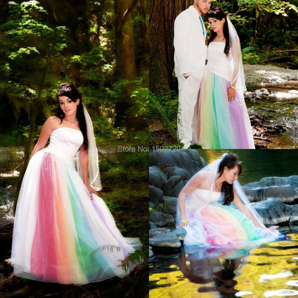 Rainbow Wedding Dress with Tulle – Fashion dresses