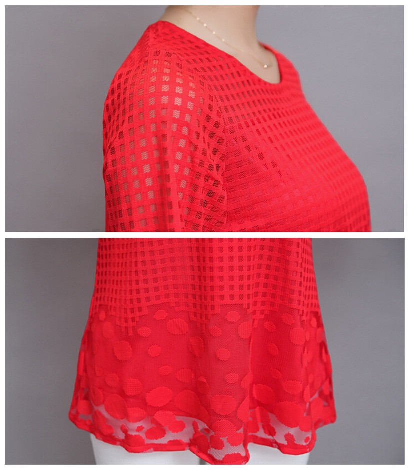 Plus Size 4XL 5XL 6XL Luxury Lace O Neck  Women Blouse Shirt Noble Long Mesh sleeve Shirt Blouse Vintage tops Blusas Femininas (42)