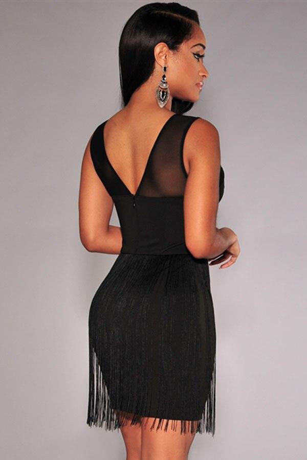 ... Party Black Mesh Accent Fringe Mini Tank Bodycon Dress Vestidos Verao  Little Black Dresses LC21986. 38% Off. 🔍 Previous. Next b76c898f4aec