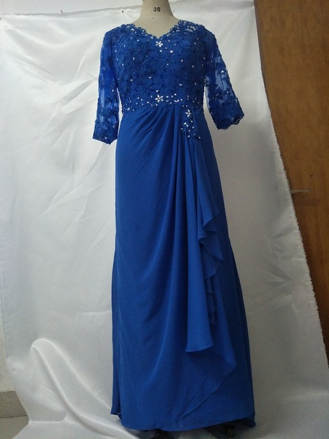 f1f7e2cc7b US $109.0  Blue Plus Size Mother Of The Bride/Groom Dresses with Sleeve  Appliques Beading Chiffon Ladies Evening Dress Mom Gown-in Evening Dresses  ...