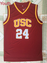 4cb204c2188 Youth Embroidery Stitched Throwback Basketball Jersey Brian Scalabrine kids  shirt  24 USC Trojans College Vintage