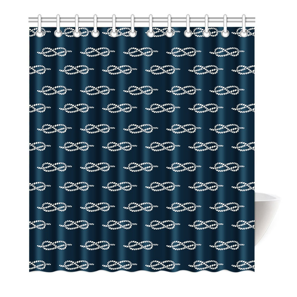 Blue anchor and Chevron Ocean winds Printing Shower Curtain ...