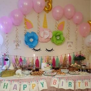 Image 5 - 1set Unicorn Party Supplies Pink Rainbow Unicorn Banner Plate Balloon Napkin Cupcake Wrapper Baby Shower Kids Birthday Decor