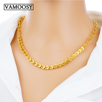 Male 24k Pure Gold Jewelry Necklace for Men Cuban Link Chain Choker Necklace women 2018 Fashion Jewelry Collares Largos De Moda