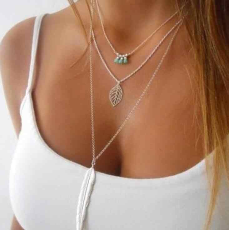2018 nowych moda proste naszyjniki liść długie naszyjniki z wisiorkiem 3 warstwy naszyjnik łańcuch wielowarstwowe naszyjniki złoto srebro biżuteria