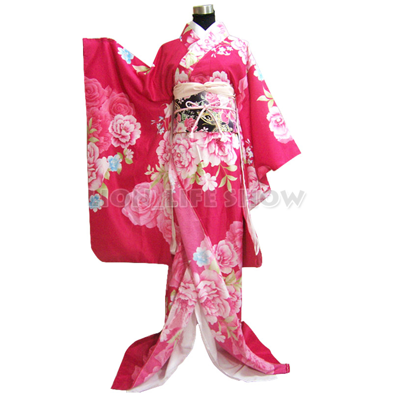 Japanese Traditional Furisode Rose Pink Kimono Dress Lady Floral Cosplay Costume