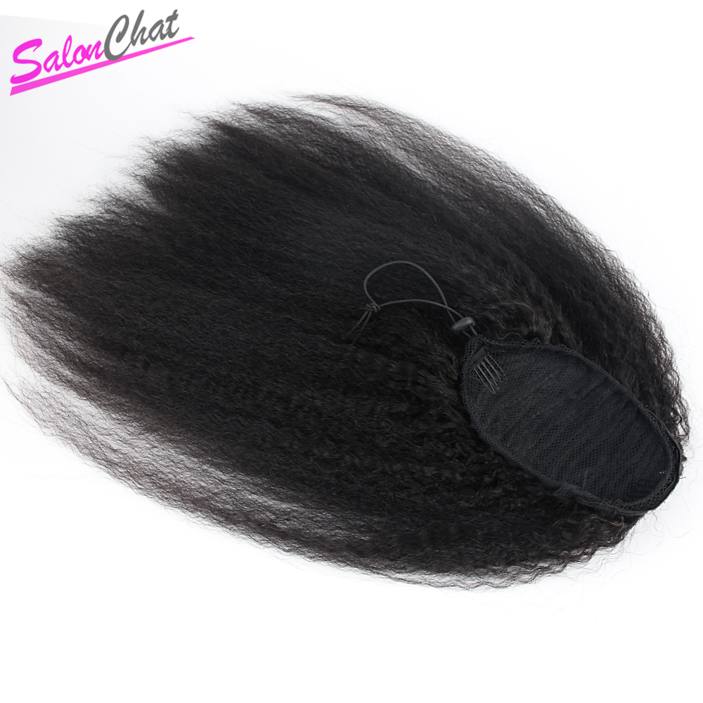 Kinky Straight Ponytail Peruvian Human Hair Clip In Hair Extensions Coarse Yaki Natural Color Remy Hair SalonChat