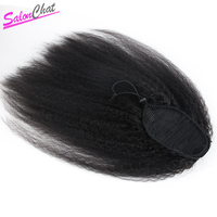 Kinky Straight Ponytail Peruvian Human Hair Clip In Hair Extensions Natural Color Remy Hair SalonChat