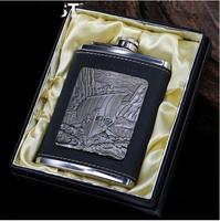 8oz Mini Portable 304 Stainless Steel Hip Flask Wine Pot Flagon Embossed Sailing Boat Vessel Leather