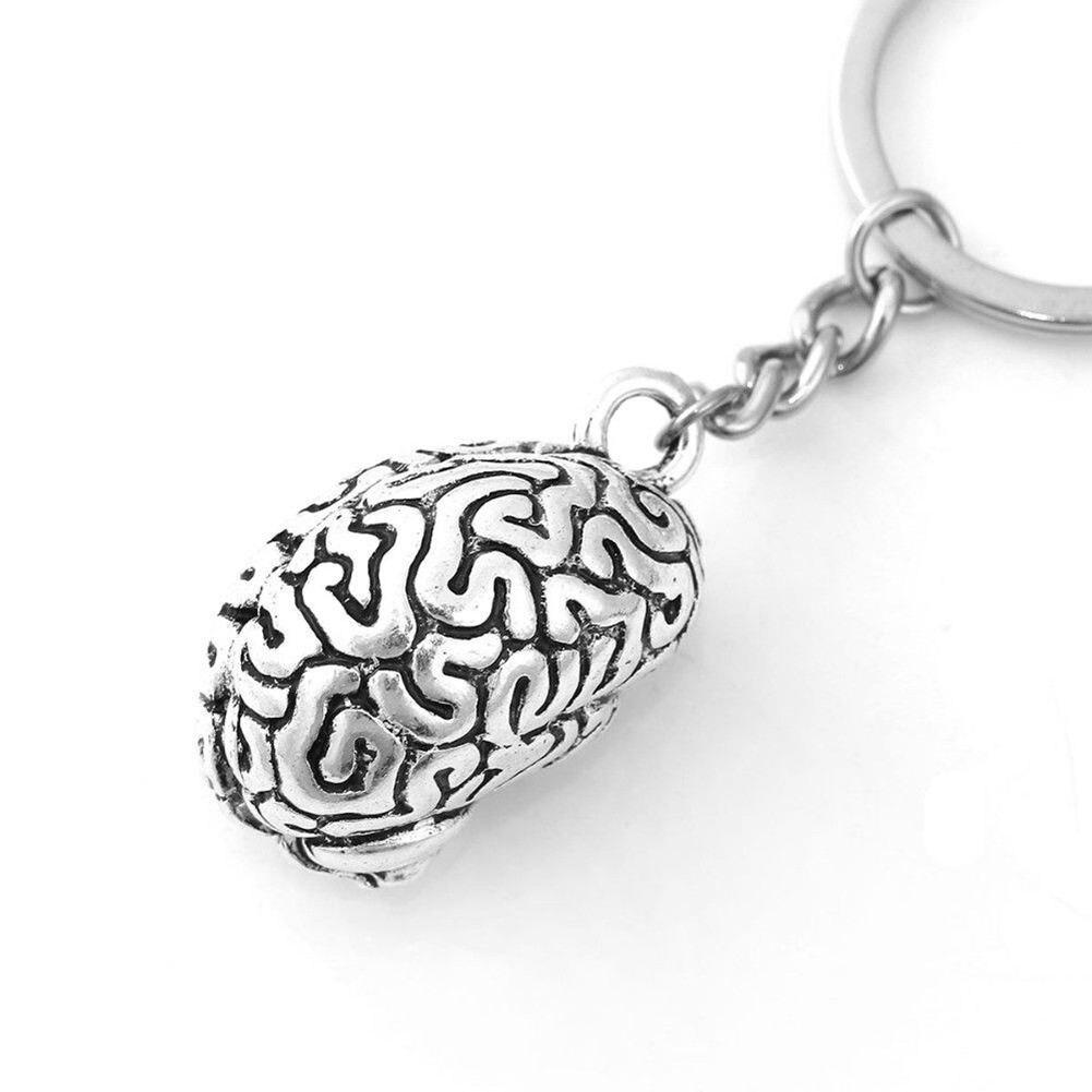 Brain Keychain Alloy Smart Brainiac IQ Key Ring Fob Chain Medicine Human