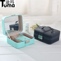 New Car Line PU Leather Jewelry Box Portable Jewel Accessories Earrings Storage Box Japan Sweet Pattern