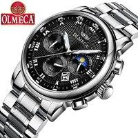 OLMECA Butterfly button steel belt men's watch waterproof sports luminous three eyes 6 pin quartz watch men's watch