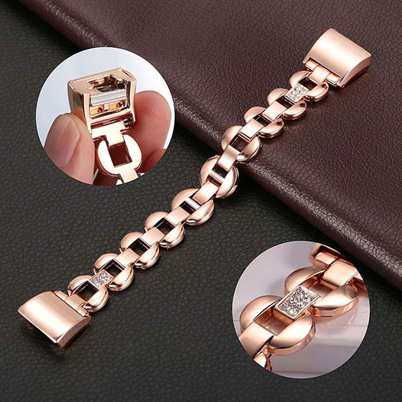 Luxury Crystal Stainless Steel Watch Band Wrist Strap For Fitbit charge 2 Smart Watch Flexible Adjustable Replacement Bangle