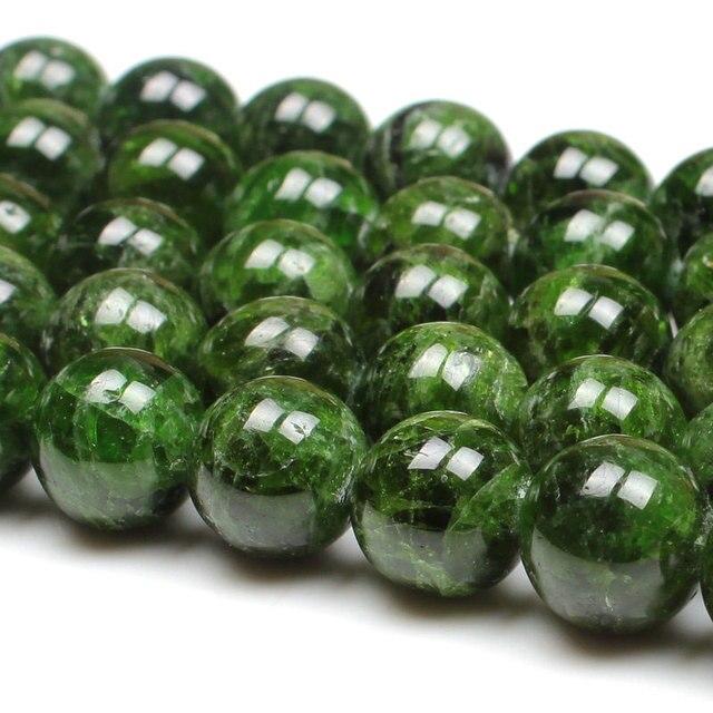 7 14 ミリメートルナチュラルグリーン透輝石宝石石ビーズラウンド DIY ルースビーズの場合アクセサリー 15 女性男性ギフト