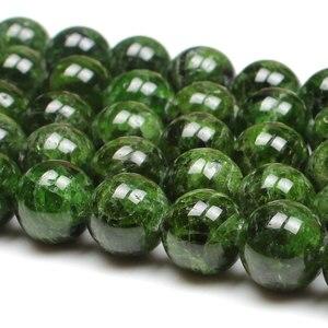 Image 1 - 7 14mm Naturale Verde Diopside Gemma Perline di Pietra Rotonda Sciolto Perline FAI DA TE Per Monili Che Fanno perline Accessori 15 donne degli uomini del Regalo