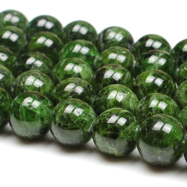 7 14mm Naturale Verde Diopside Gemma Perline di Pietra Rotonda Sciolto Perline FAI DA TE Per Monili Che Fanno perline Accessori 15 donne degli uomini del Regalo