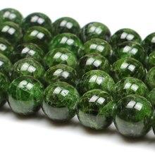 7 14mm doğal yeşil diyopsit taş taş boncuk yuvarlak DIY dağınık boncuklar takı yapımı için boncuk aksesuarları 15 kadın erkek hediye
