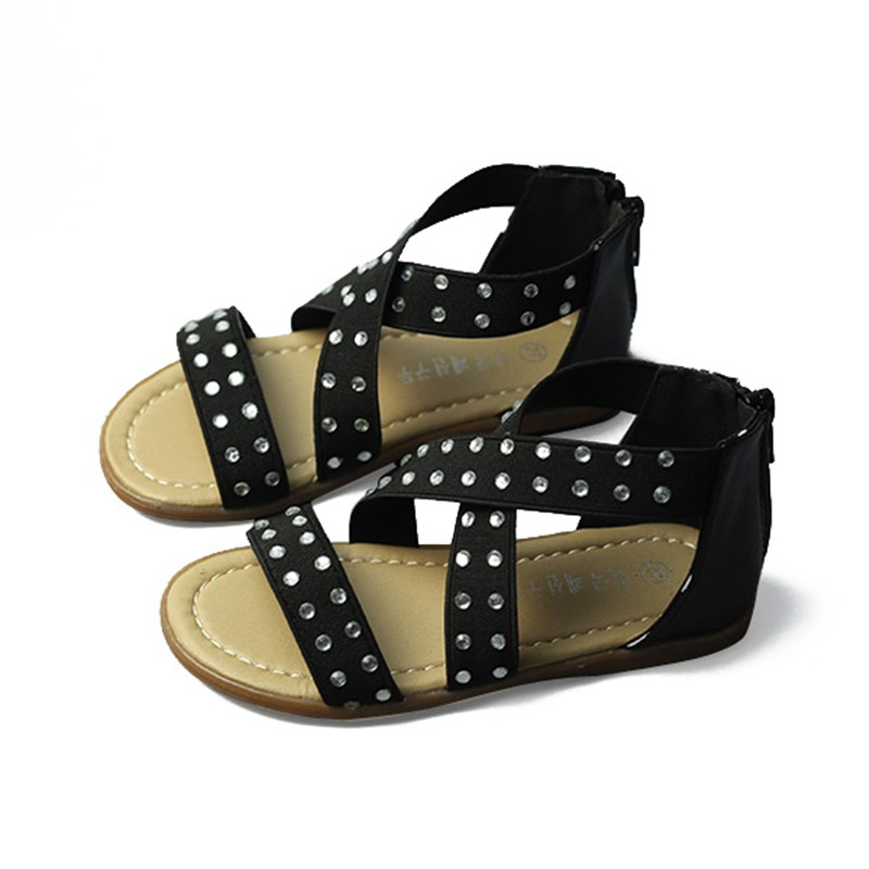 Girls Shoes Kids Intersect Elastic Strap Rhinestone Sandals Baby Zip Gladiator Solid Color Leopard Beach Flat Shoe Summer Hot
