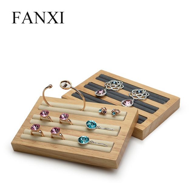 FANXI Solid Wood Jewelry Display Stand 3 Rows Ring Earrings Bangle Holder with Microfiber Ring Expositor Jewelry Tray Organizer