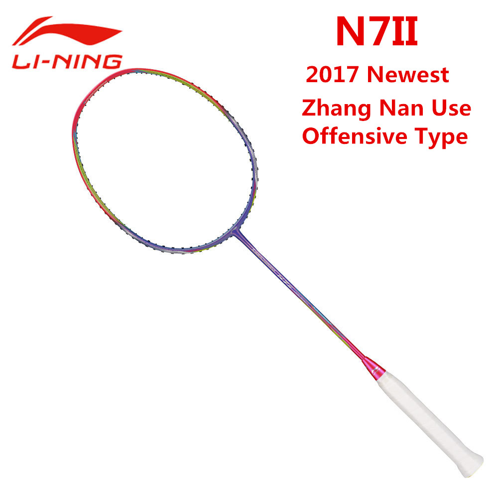 Li-Ning N7II Galattica Purple Carbon Badminton Rackets Sudiman Cup Offensive Type Hard Shaft Li Ning Racquet AYPM028 L710OLC li ning professional badminton rackets carbon offensive type brazil 2016 single racket aypl102 zyf113